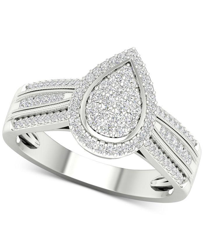 Macy's - Diamond Teardrop Cluster Statement Ring (1/2 ct. t.w.) in Sterling Silver