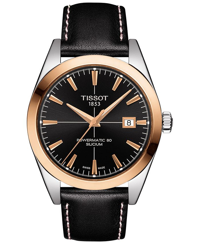 Tissot - Men's Swiss Automatic Gentlemen Black Leather Strap Watch 40mm