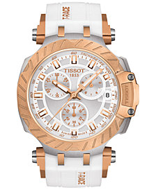 Tissot Women's Swiss Chronograph T-Race White Silicone Strap Watch 47.6mm