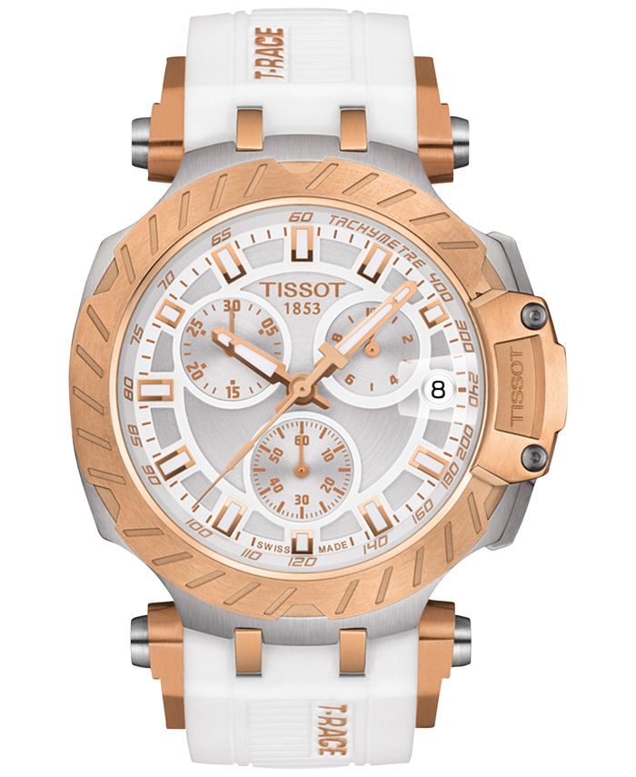 Tissot - Women's Swiss Chronograph T-Race White Silicone Strap Watch 47.6mm
