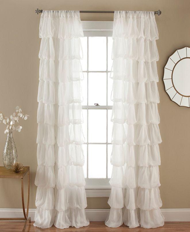 "Lush Decor Olivia Ruffle 50"" x 84"" Single Window Panel"