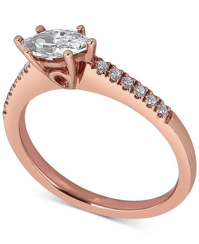 Macy's - Diamond Oval Engagement Ring (5/8 ct. t.w.) in 14k Rose Gold