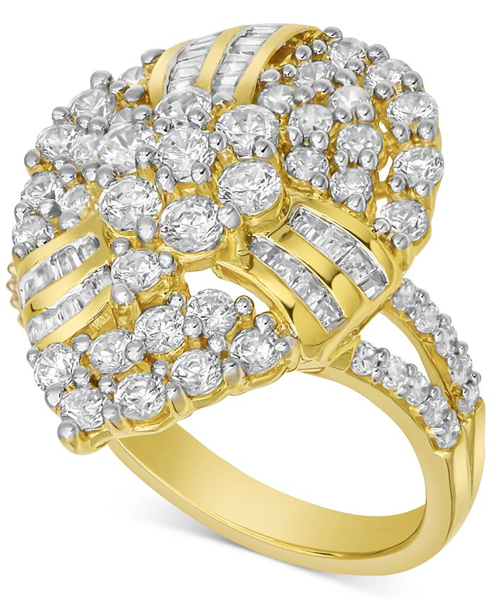 Macy's - Diamond Cluster Pear-Shaped Statement Ring (2 ct. t.w.) in 10k Gold