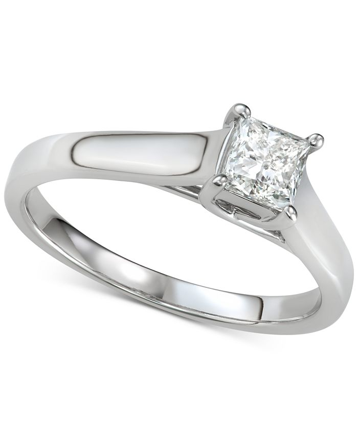 Macy's - Diamond Princess Solitaire Engagement Ring (5/8 ct. t.w.) in 14k White Gold