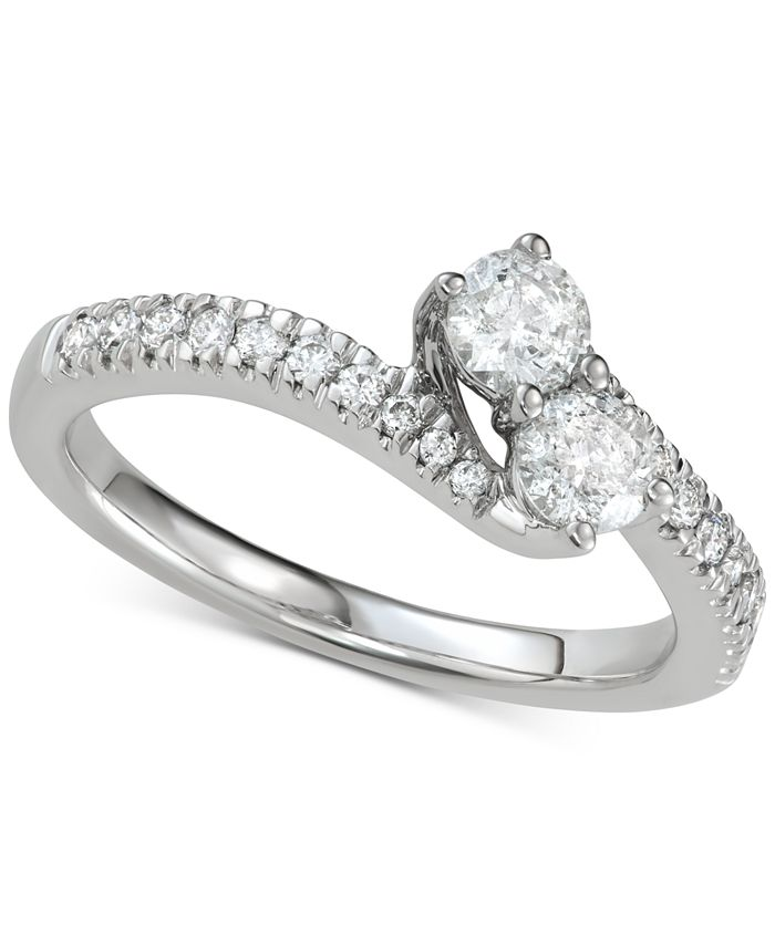 Macy's - Diamond Two-Stone Engagement Ring (3/4 ct. t.w.) in 14k White Gold