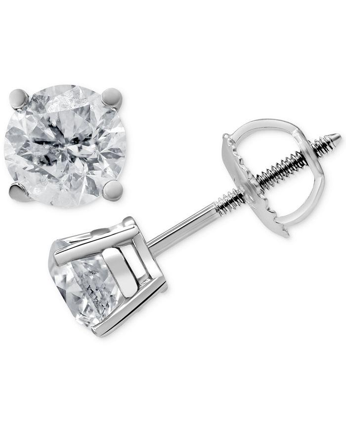Macy's - Diamond Stud Earrings (1-1/4 ct. t.w.) in 14k White Gold