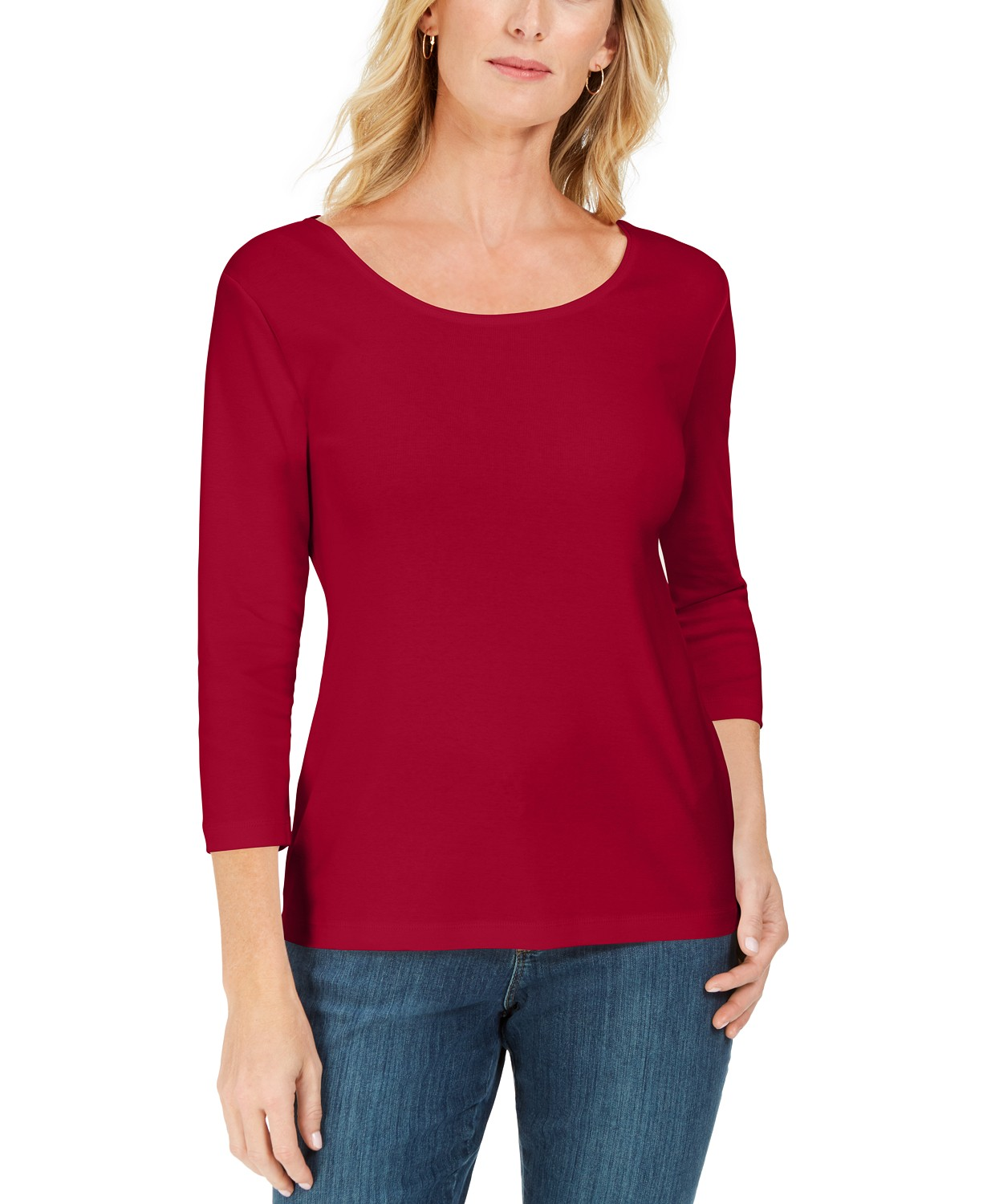 Karen Scott Cotton 3/4-Sleeve Top, Created for Macy's