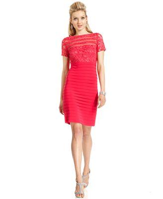 Adrianna Papell Dress, Short-Sleeve Lace Sheath - Dresses ...