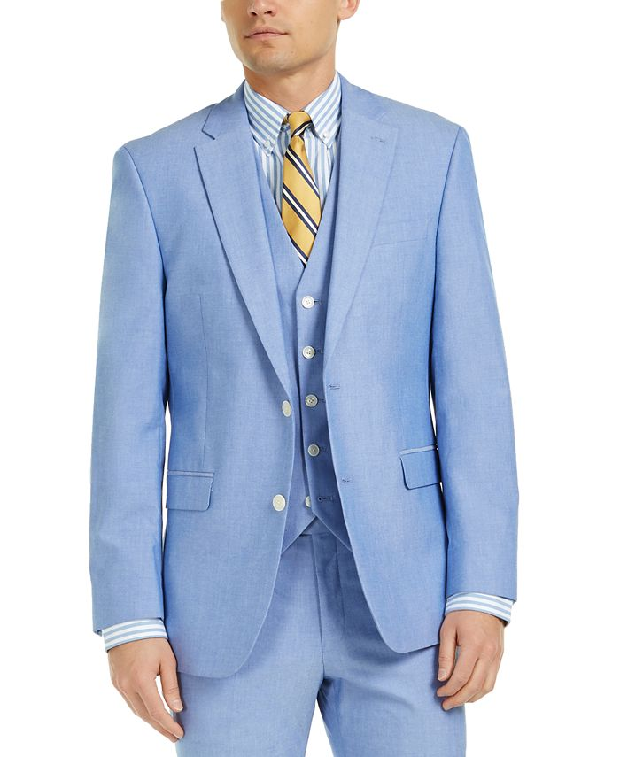 Tommy Hilfiger - Men's Modern-Fit THFlex Stretch Chambray Suit Jacket