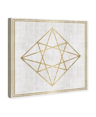 Whitewash Wood Geometric Diamond Canvas Art, 12