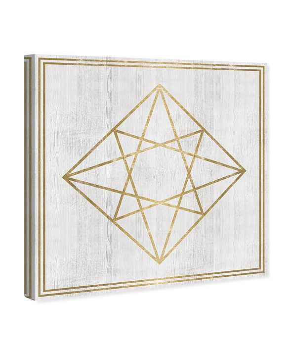 "Oliver Gal Whitewash Wood Geometric Diamond Canvas Art, 12"" x 12"""