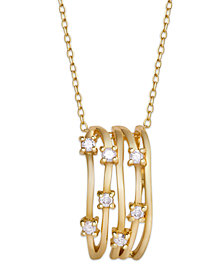 Diamond 1/4 ct. t.w. Multi Row Pendant Necklace in 14K Gold over Sterling Silver