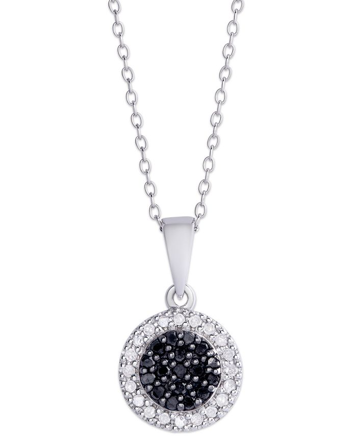 Macy's - Black and White Diamond (1/4 ct. t.w.) Round Pendant Necklace in Sterling Silver