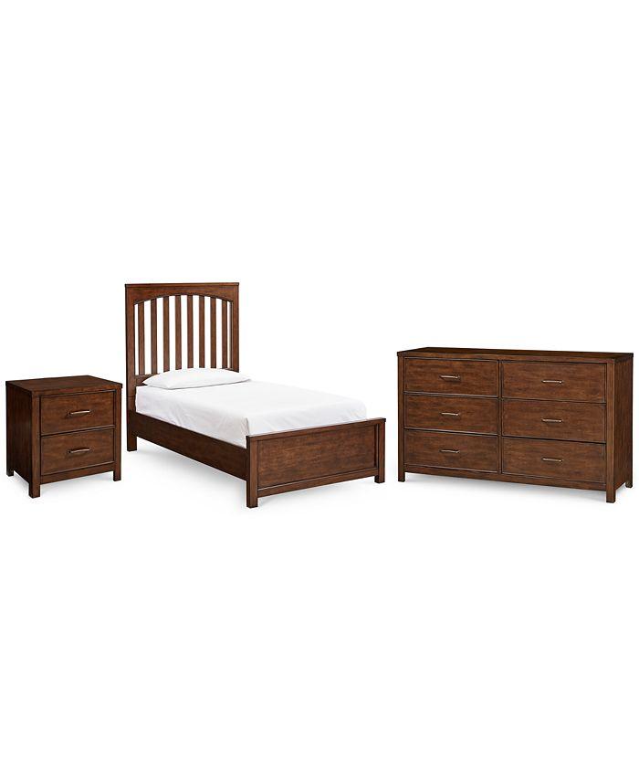 Furniture - Ashford Cinnamon Bedroom , 3-Pc. Set (Twin Bed, Nightstand & Dresser)