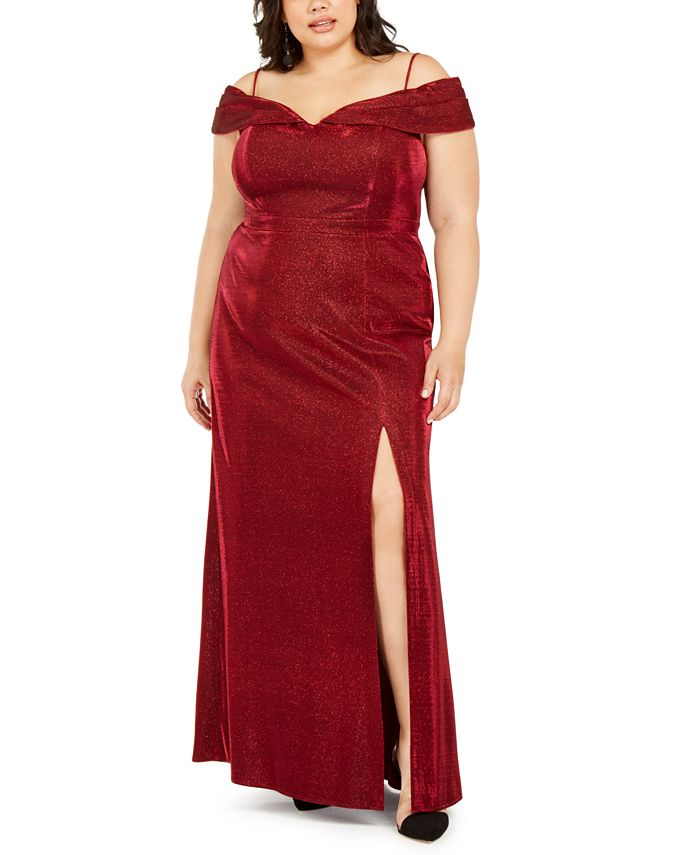 Morgan & Company - Trendy Plus Size Off-The-Shoulder Shimmer Gown