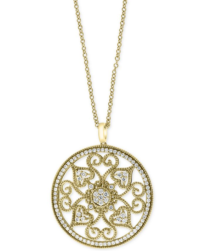 """EFFY Collection - Diamond Vintage Swirl 18"""" Pendant Necklace (1-1/6 ct. t.w.) in 14k Gold"""