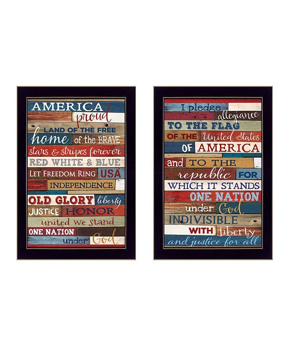 "Trendy Decor 4U America Proud II Collection By Marla Rae, Printed Wall Art, Ready to hang, Black Frame, 10"" x 14"""