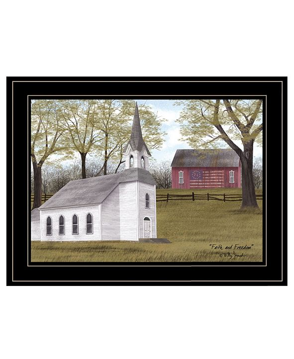 """Trendy Decor 4U Faith and Freedom by Billy Jacobs, Ready to hang Framed Print, Black Frame, 19"""" x 15"""""""
