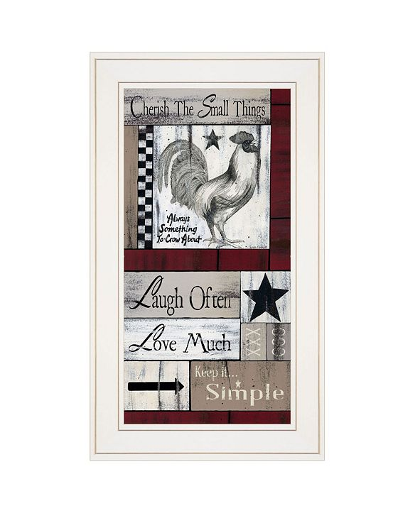 "Trendy Decor 4U Trendy Decor 4U Cherish The Small things by Linda Spivery, Ready to hang Framed print, White Frame, 12"" x 21"""