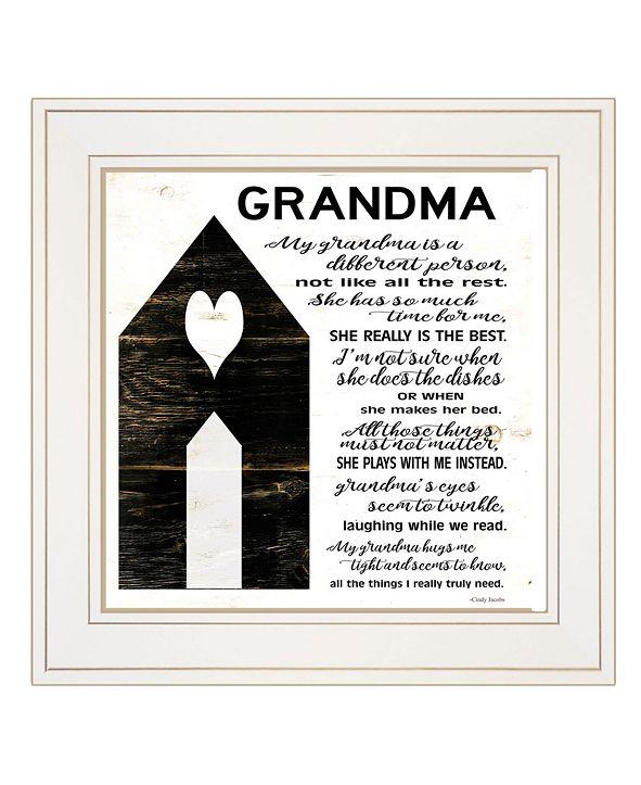 """Trendy Decor 4U My Grandma by Cindy Jacobs, Ready to hang Framed Print, White Frame, 15"""" x 15"""""""
