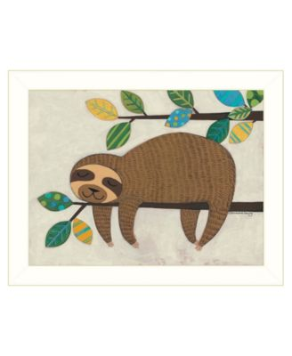 Hanging Sloth I by Bernadette Deming, Ready to hang Framed Print, Black Frame, 18