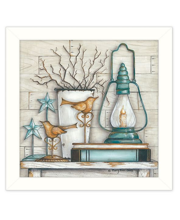 "Trendy Decor 4U Lantern on Books By Mary June, Printed Wall Art, Ready to hang, White Frame, 14"" x 14"""