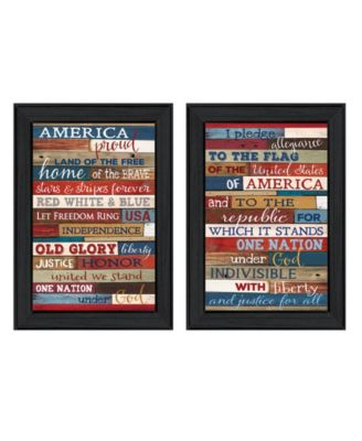 America Proud II Collection By Marla Rae, Printed Wall Art, Ready to hang, Black Frame, 10