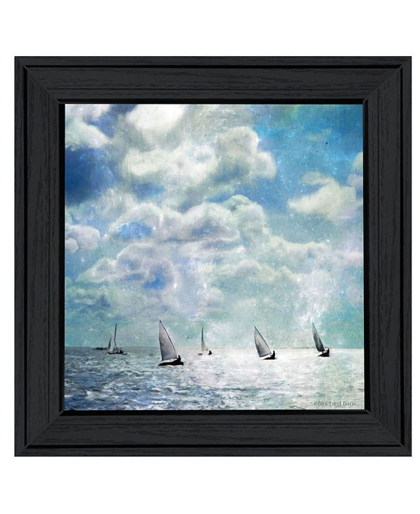 "Trendy Decor 4U Sailing White Waters by Bluebird Barn Group, Ready to hang Framed Print, Black Frame, 15"" x 15"""