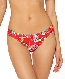 Jessica Simpson Chantilly Lace Printed Shirred Hipster Bikini Bottoms