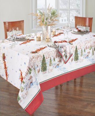 """Santa's Snowy Sleighride Tablecloth - 60"""" x 84"""""""