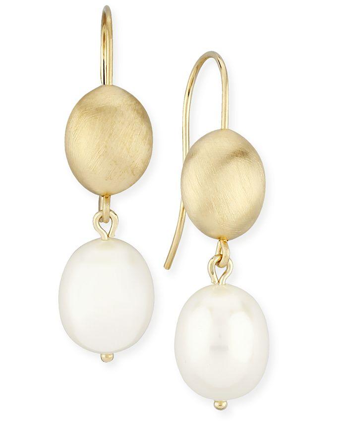 Macy's - Beaded Pearl (10 x 8 mm) Drop Earrings Set in 14k Yellow Gold