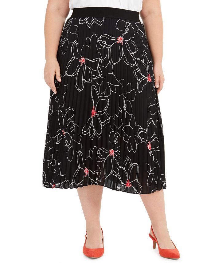Alfani - Plus Size Printed Pleated Midi Skirt