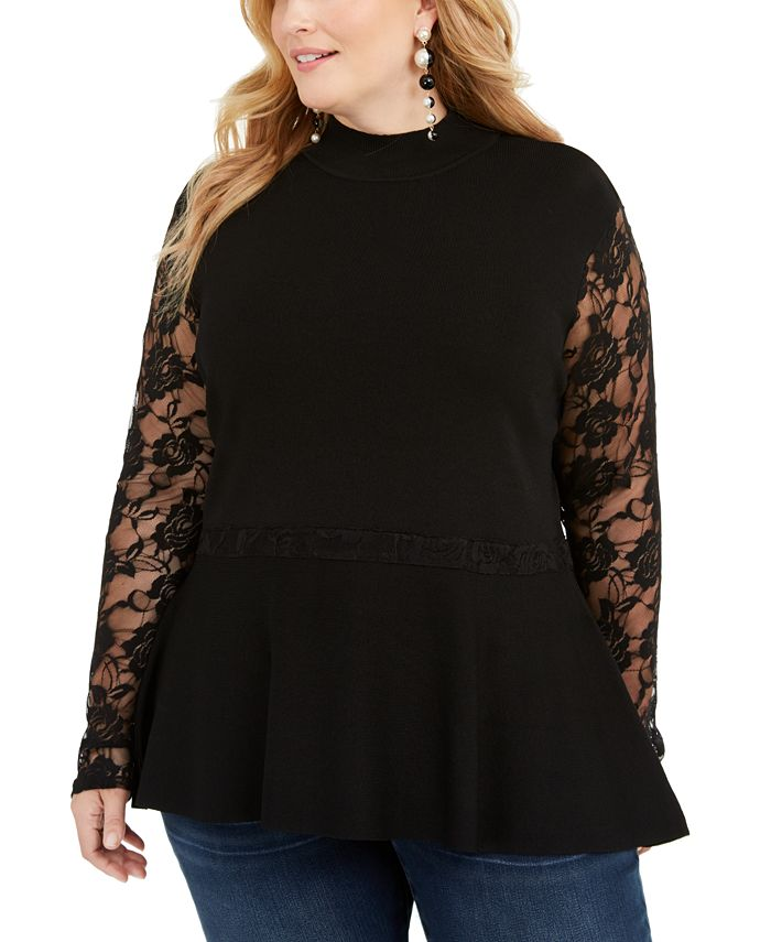 INC International Concepts - Plus Size Lace Peplum Sweater