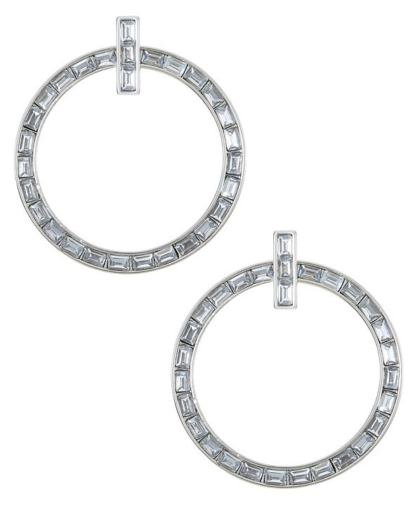 Trifari Silver-Tone Hoop Drop Earrings