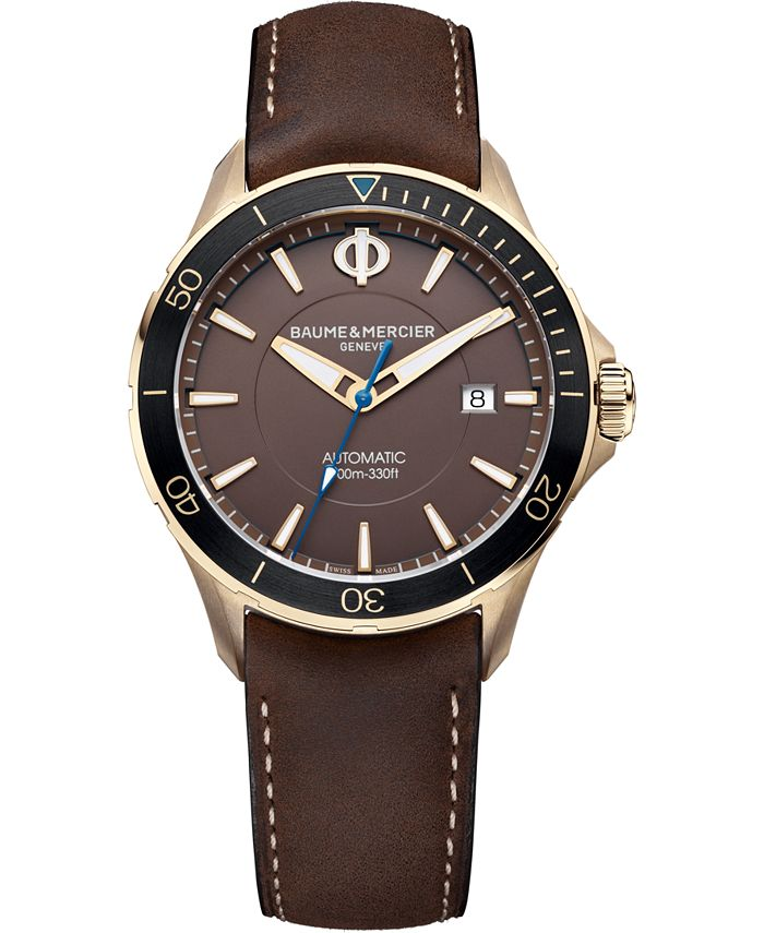 Baume & Mercier - Men's Swiss Automatic Clifton Club Brown Nubuck Calfskin Leather Strap Watch 42mm