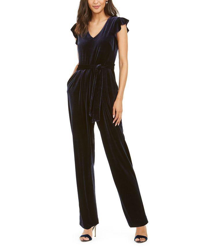 Jessica Howard - Flutter Sleeve Velvet Jumpsuit