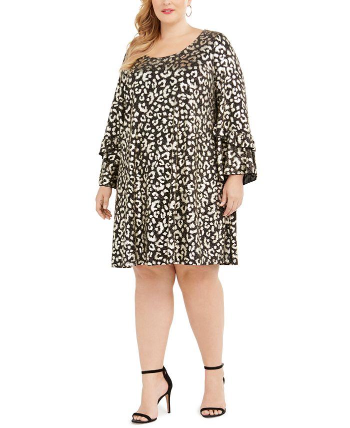Robbie Bee - Plus Size Metallic Cheetah Print Dress
