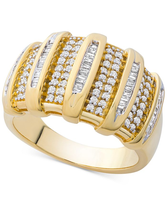 Macy's - Diamond Wide Statement Ring (1/2 ct. t.w.) in Gold-Plated Sterling Silver