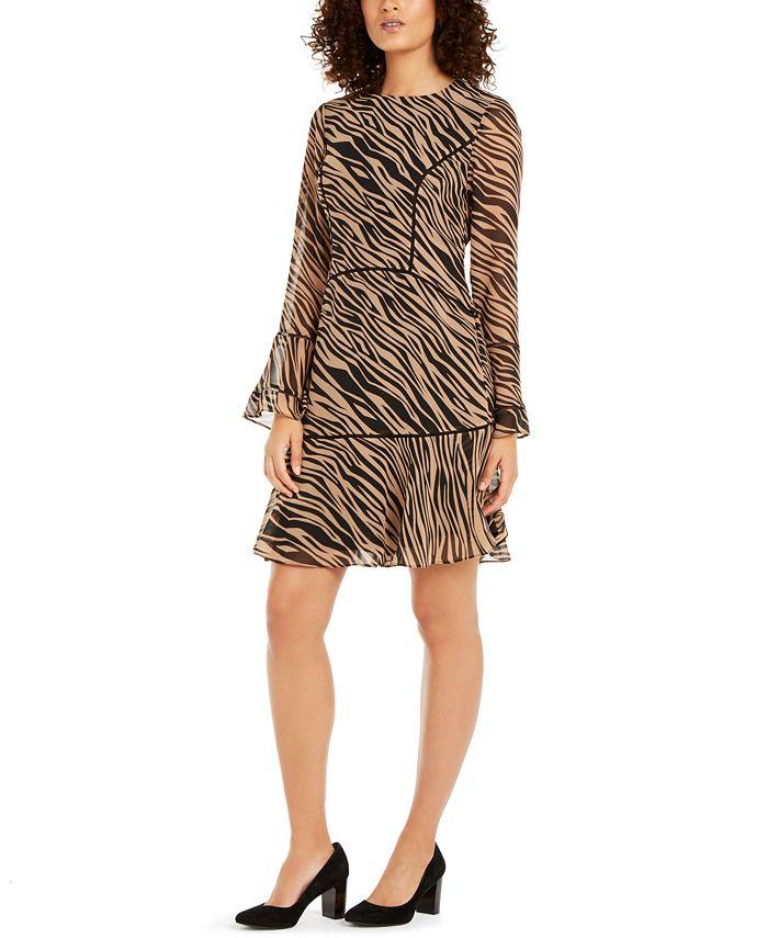 Anne Klein - Tiered Zebra Print Dress