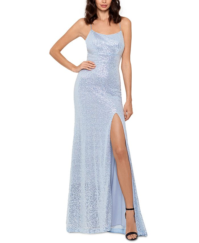 Betsy & Adam - Icy Sequined Slit Gown
