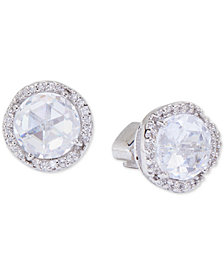Kate Spade New York Silver-Tone Pavé & Large Crystal Round Stud Earrings
