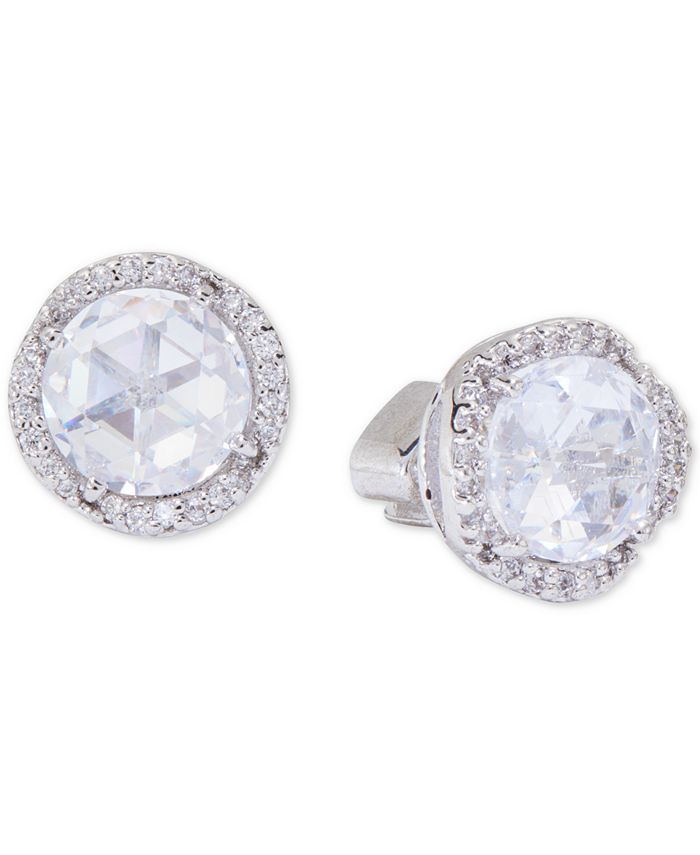 kate spade new york - Silver-Tone Pavé & Large Crystal Round Stud Earrings