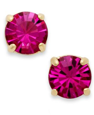 kate spade new york, 12k Gold-Plated Crystal Round Stud Earrings