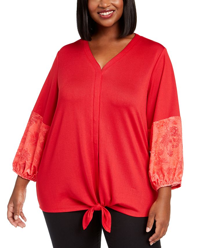NY Collection - Plus Size Contrast-Sleeve Tie-Front Top