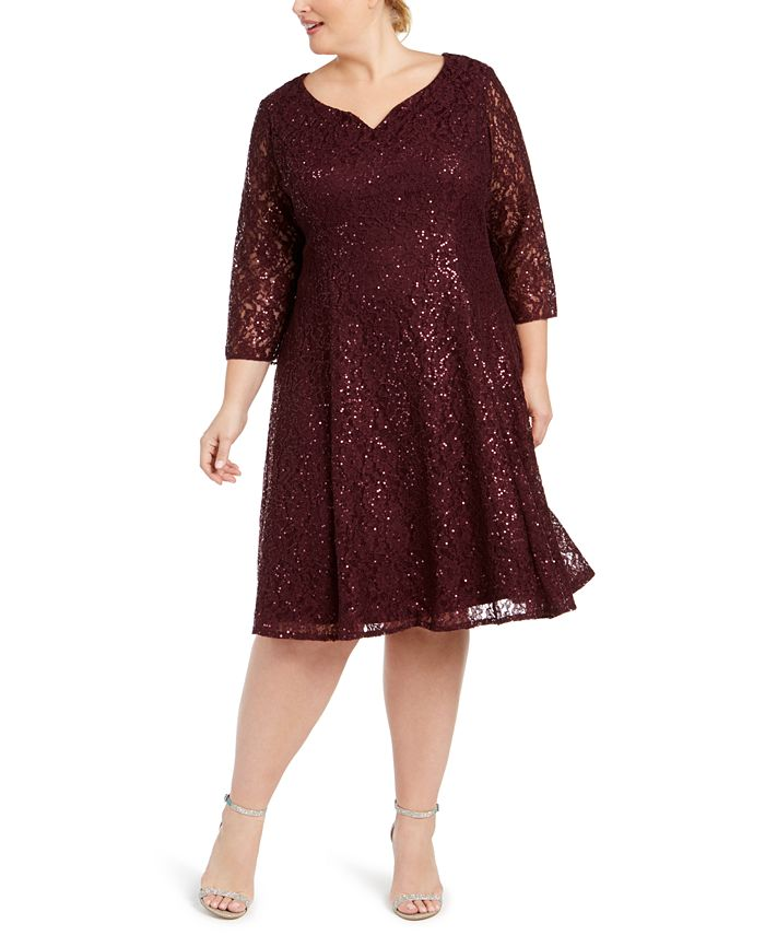 SL Fashions - Plus Size Sequined Lace Dress