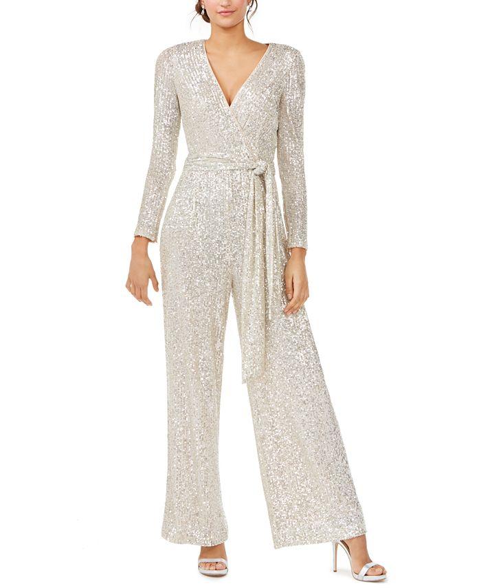 Eliza J - Silver Long-Sleeve Jumpsuit