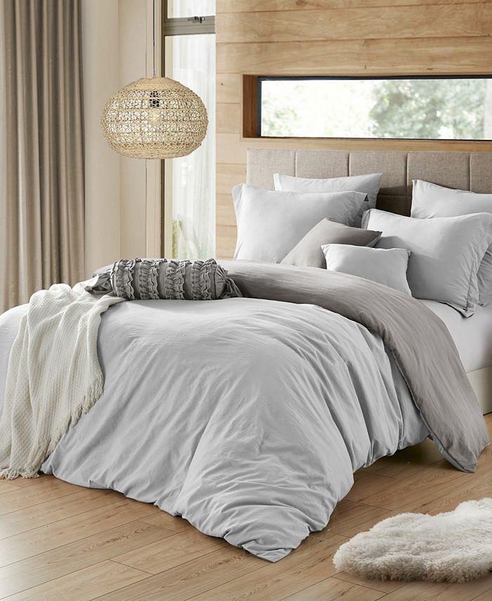 Cathay Home Inc. - Ultra Soft Reversible Crinkle Duvet Cover Set - Full/Queen