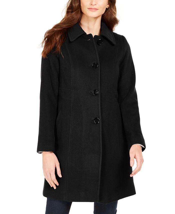 Anne Klein - Single-Breasted Club-Collar Coat