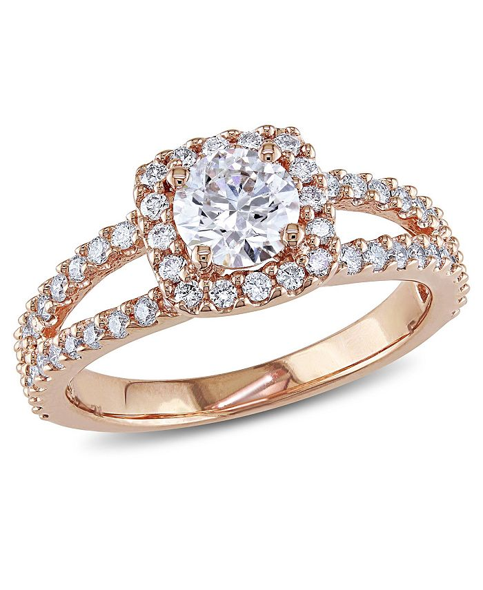 Macy's - Diamond (1 ct. t.w.) Halo Engagement Ring in 14k Rose Gold