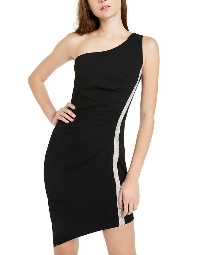 BCX - Juniors' Rhinestone-Trim One-Shoulder Dress